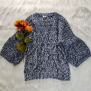 Moth Anthropologie Blue/White Bell Sleeve Sweater